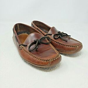 LL Bean Mens Size 9 D Leather Slippers Double-Sole Leather-Lined Moccasin