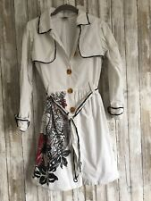 Save the Queen Circus White Black Red Trench Belted Fit Coat 12 S ITALY RARE*
