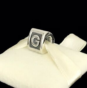 Pandora Letter G Block Alphabet Initial Charm Silver S925 ALE + Box 790323G