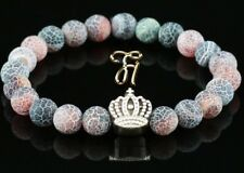 Agate Red Colourful 8mm Bracelet Pearl Bracelet Silver Coated Crown