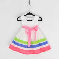 Kids Baby Casual Sleeveless Stripe Dress Toddler Girl Sundress Skirt Size 0-6T