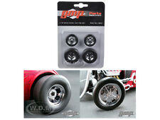 CHROMED HOT ROD DRAG WHEELS AND TIRES SET OF 4 1/18 BY GMP 18841