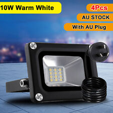 4X 10W LED Flood Light W/ AU Plug Warm White Outdoor Floodlights Security Lamp