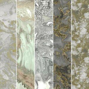 Debona Liquid Marble Wallpaper Metallic Glitter Gold Charcoal Grey White