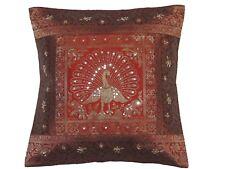 "Rust Brown Gold Peacock Cushion Cover - Zari Brocade Beaded Throw Pillow 16"""