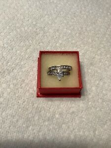 CZ Stainless Steel Wedding Ring Set, size 8
