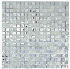 Glasmosaik Mosaikfliese Silber Mosaikplatte Mosaikbogen WB92-0217 | 1 Matte
