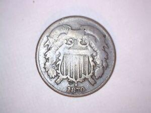 X  Old Original Rare 1870 Bronze Two 2 Cent Better Date Civil War Era Coin