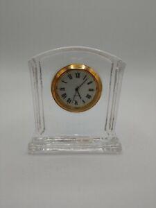 "3"" 24% Clear Lead Crystal Battery Powered Desk Clock Taiwan Roman Numerals"