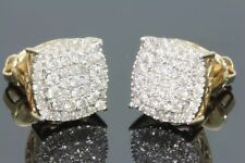 1.30 Ct Diamond Screw Back Square Stud Earrings 14K Yellow Gold For Men's/Ladies