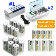 Lot 5000mAh/10000mAh C D Size Rechargeable Batteries / AA AAA 9V Battery Charger