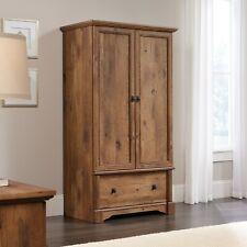 Armoire Wardrobe Storage Closet Vintage Oak Finish Drawer Rod Bedroom Furniture