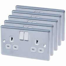 Brushed Stainless Steel 13A 2-Gang SP Switched Plug Sockets