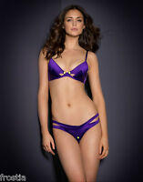AGENT PROVOCATEUR SOLD OUT PURPLE JANET POPPER BRA & OUVERT OPEN THONG SET BNWT