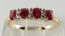 SUPERIOR ENGLISH 9CT GOLD BLOOD RED RUBY & DIAMOND ETERNITY RING FREE RESIZE