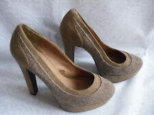WOMENS ATMOSPHERE BROWN TEXTILE HIGH HEELS COURT SHOES SZ:6/39(WHS308)
