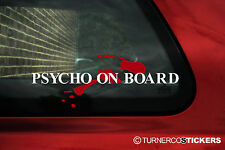 Psycho on Board (or custom name /text)  Blood spatter car bumper sticker / Decal