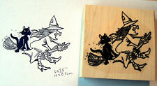 P95 Witch with cat on broom rubber stamp large