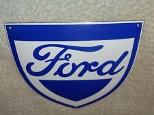 """VINTAGE FORD CAR & TRUCK SERVICE SHIELD"""" 6"""" PORCELAIN METAL GASOLINE & OIL SIGN!"""