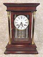 Vintage Howard Miller Tribute Crystal Regulator Clock Bell Strike Runs Wood Case