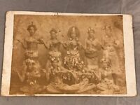 ANTIQUE 1800's 9 SOUTH PACIFIC ISLAND PEOPLE NATIVE COSTUMES CABINET CARD