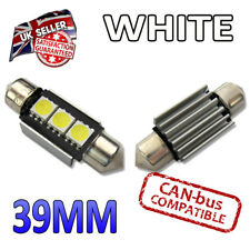 2 x White 39mm Canbus LED Festoon Bright Interior Plate Lights C5W 239 SMD Bulbs