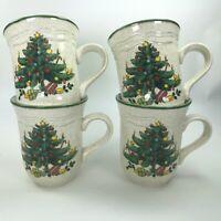 Mikasa Festive Season 4 Mugs EB 451 Japan Christmas Tree Green Holiday Cup C19