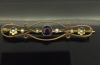 Antique Victorian Brooch 9CT Gold Pin Seed Pearls Amethyst Elegant Simple C.1890