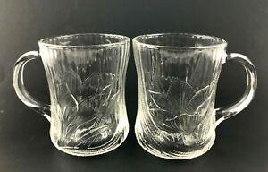Arcoroc Canterbury Crocus Lot 2 Clear Glass Mug Coffee Cup Tea Tulip Lotus Lily