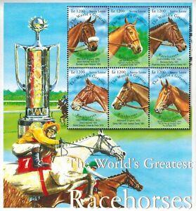 MODERN GEMS - Sierra Leone - The World's Greatest Racehorses - Sheet of 6 - MNH