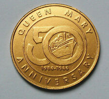 RMS Queen Mary 1936-1986 50th Anniversary Ship Commemorative Aluminum Medal/Coin