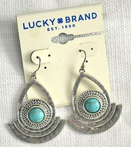 Lucky Brand Semi Precious Accents Turquoise Drop Earrings Silver-Tone NWT