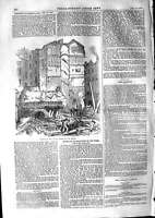 Old Antique Print 1853 Remains Fallen House Strand London Ruins Building 19th
