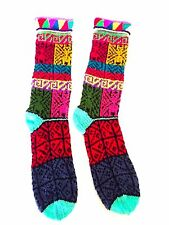 Hand knitted Peruvian winter ethnic long socks  AB13
