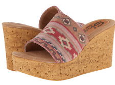 NEW Sbicca Cayenne Tan/Multi Wedge Sandals Shoes Womens 10 M