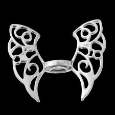 ❤ 3 x Bright Silver Plated FOCAL BUTTERFLY ANGEL Spacer Beads Charms Wing 43mm ❤