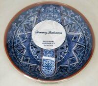 TOMMY BAHAMA Spanish Blue Tile Terracotta MELAMINE Serving/Salad Bowl W/Utensils