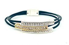 Three Strand Black Leather Cord Gold & Silver Crystal Bars Bracelet