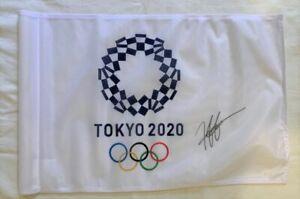 Hideki Matsuyama signed Tokyo 2020 Olympic golf flag Japan Masters *PROOF*