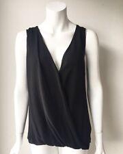 Aritzia T. Babaton Black Sleeveless Silk & Knit Blouse Size M Classy
