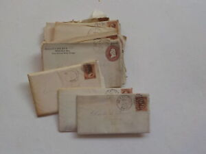 11 Antique Letters 1800s Westfield Massachusetts Geneva New York Plumb Covers