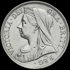 More details for 1900 queen victoria veiled head silver half crown, g/ef
