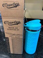 Masontops Mason Jar Hydration Kit Glass Water Bottle w/ Neoprene ~ Turquoise FFF