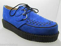 New Rare Retro Hand Made Uk Shoes Blue Suede Creepers Rock Punk