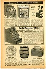 1940 small Print Ad of Mickey Mouse Bank, Cash Register Globe & Barrel Bank