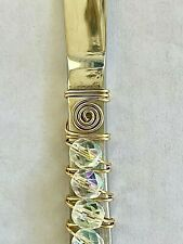 NWOT DESIGNER DECORATED  BUTTER SPREADER/KNIFE SILVER PLATE--WIRE  CLEAR BEADS