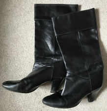Vintage Ladies Black Leather Boots Size 6 Mid Calf Height