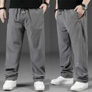Men Oversize Pant Loose Long Trouser Elastic Waist Straight Leg Stretch Bottoms