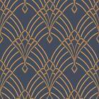 Rasch Astoria Art Deco Navy Blue Gold Glitter Soft Touch Feature Wallpaper