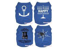 Royal Blue Top T-Shirt Hanukkah Halloween Pet Cat Dog Puppy One Piece Clothes